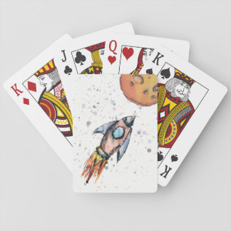 Watercolor Space Rocket Playing Cards