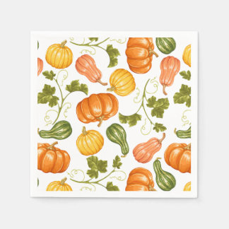 Watercolor Squash, Pumpkin and Leaves Pattern Paper Napkin