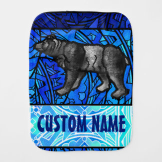 Watercolor Stained Glass Animal Custom Name Bear Burp Cloth