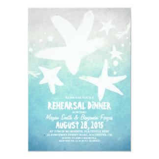 watercolor starfish blue beach rehearsal dinner card