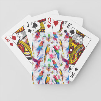 Watercolor Style Parrots Playing Cards
