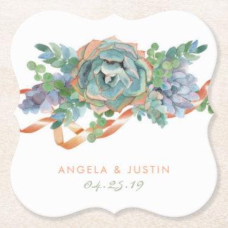 Watercolor Succulent Cluster Wedding Paper Coaster