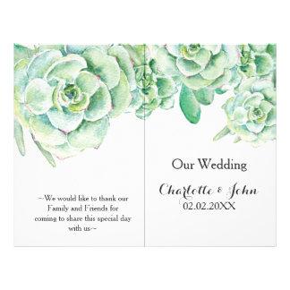 watercolor succulent wedding program 21.5 cm x 28 cm flyer