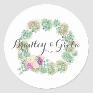 Watercolor Succulents Custom Wedding Sticker