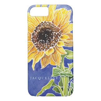 Watercolor Sunflower Batik Summer Personalize Name iPhone 8/7 Case