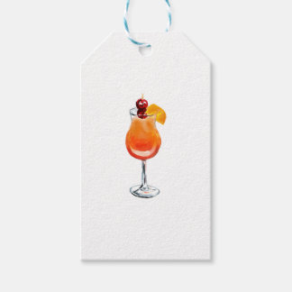 Watercolor Tequila Sunrise Cocktail