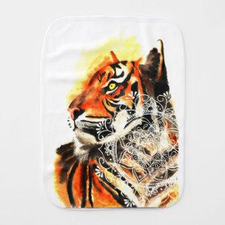 Watercolor Tiger Mandala Burp Cloth