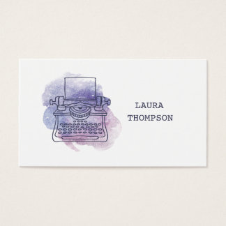 Watercolor Typewriter Writers Business Cards
