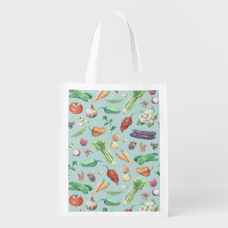 Watercolor Veggies & Spices Pattern Reusable Grocery Bag