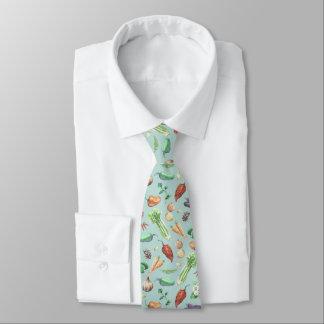 Watercolor Veggies & Spices Pattern Tie
