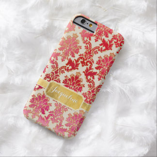 Watercolor Wash Damask w Glitter n Gold Leaf Frame Barely There iPhone 6 Case