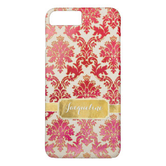 Watercolor Wash Damask w Glitter n Gold Leaf Frame iPhone 7 Plus Case