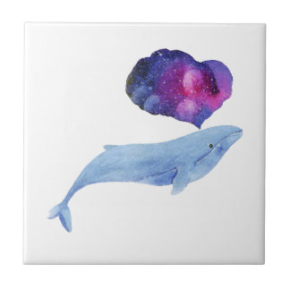 Watercolor Whale Small Square Tile
