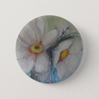 Watercolor White Flower 6 Cm Round Badge