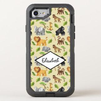 Watercolor Wild Animal Safari Jungle Pattern OtterBox Defender iPhone 8/7 Case