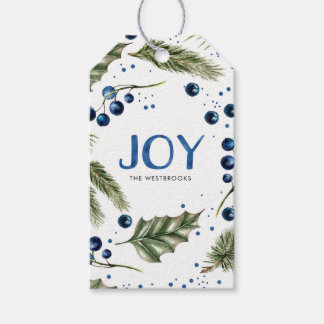 Watercolor Winter Wreath Joyous Christmas