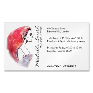 Watercolor woman portrait make up artist branding magnetic business card