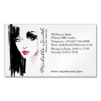 Watercolor woman portrait makeup artist branding magnetic business card