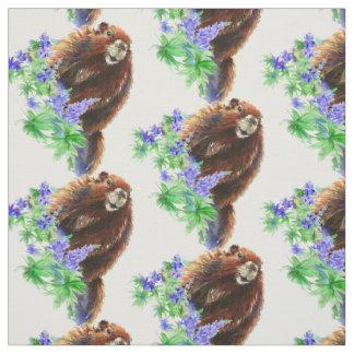 Watercolor Woodchuck, Marmot, Groundhog Animal art Fabric