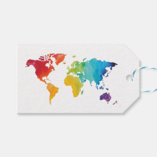 World map gift tags zazzle watercolor world map gift tag gumiabroncs Gallery