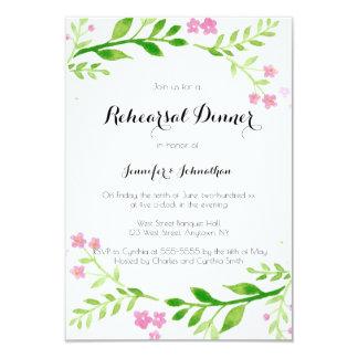 Watercolor wreath rehearsal dinner invitations