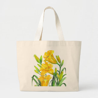 Watercolor Yellow Day Lillies Floral Illustration Large Tote Bag