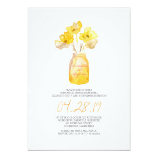 watercolor yellow floral REHEARSAL DINNER Card