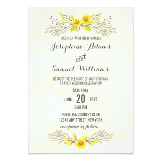 Watercolor Yellow Flowers Wedding Invitation