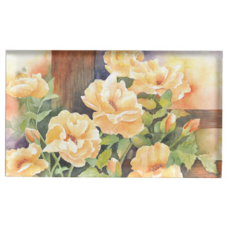 Watercolor Yellow Rose Place Card Holder
