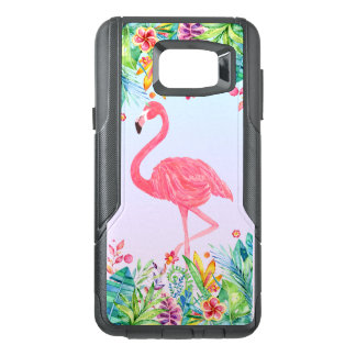 Watercolors Cute Pink Flamingo & Tropical Flowers OtterBox Samsung Note 5 Case