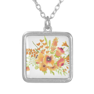 Watercolors flowers silver plated necklace