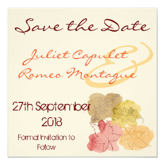 Watercolour Autumn Leaves Save the Date 13 Cm X 13 Cm Square Invitation Card