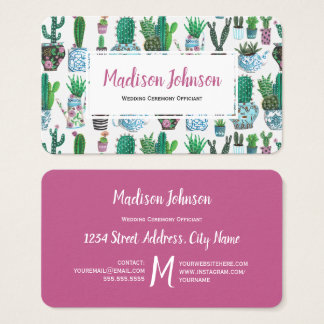 Watercolour Cactus | Monogram | Business Cards