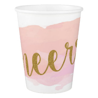 Watercolour Cheers! Wedding or Birthday Paper Cup