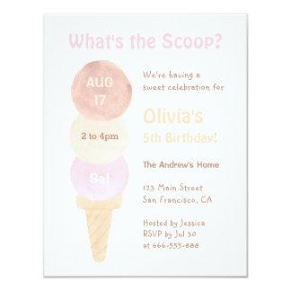 Watercolour Ice Cream Birthday Party Invitations