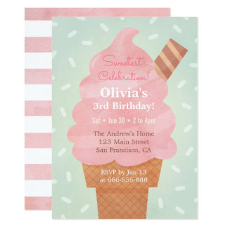 Watercolour Pink Ice Cream Kids Birthday Party Card