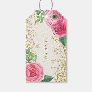 Watercolour Pink Roses Wedding Favor Gift Hang Tag
