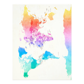 Watercolour Political Map of the World 21.5 Cm X 28 Cm Flyer