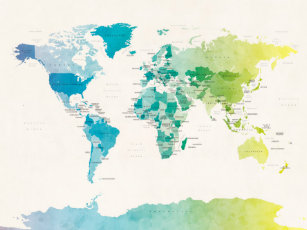 Map posters photo prints zazzle nz watercolour political map of the world poster gumiabroncs Gallery