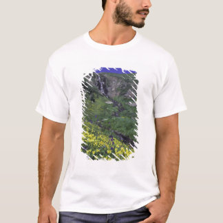 Waterfall and wildflowers in alpine meadow, T-Shirt