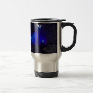 Waterfall in winter travel mug
