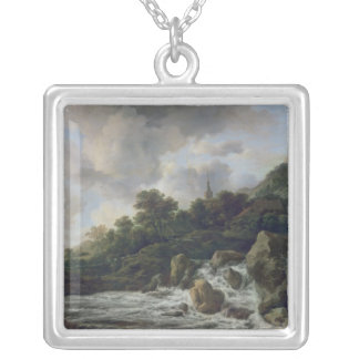 Waterfall Near a Village, c.1665-70 Silver Plated Necklace