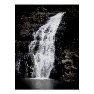 Waterfall, Oahu Poster