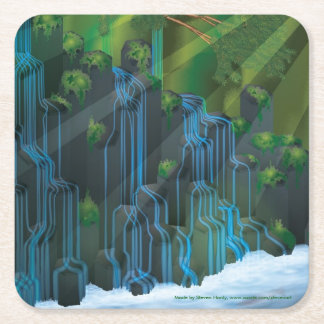 Waterfall Square Paper Coaster
