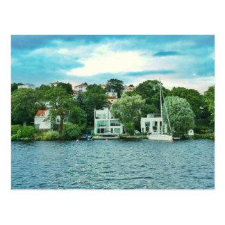 Waterfront houses in Sweden Postcard