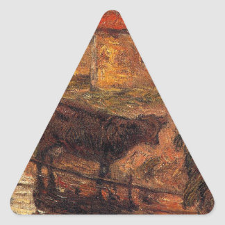 Watering place by Paul Gauguin Triangle Sticker