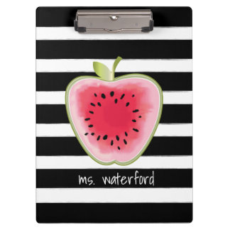 Watermelon Apple Stripes Personalised Teacher Clipboard