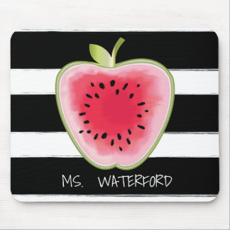 Watermelon Apple Stripes Personalised Teacher Mouse Pad