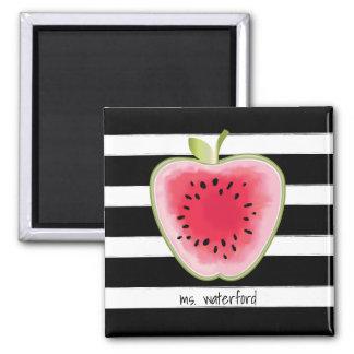 Watermelon Apple Stripes Personalised Teacher Square Magnet