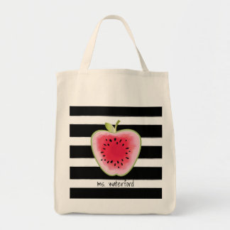 Watermelon Apple Stripes Personalised Teacher Tote Bag
